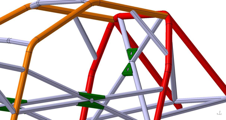 Projekt i model 3D klatki bezpieczeństwa z węzłówkami, krzyżami i zastrzałami dla BMW E36 Sedan